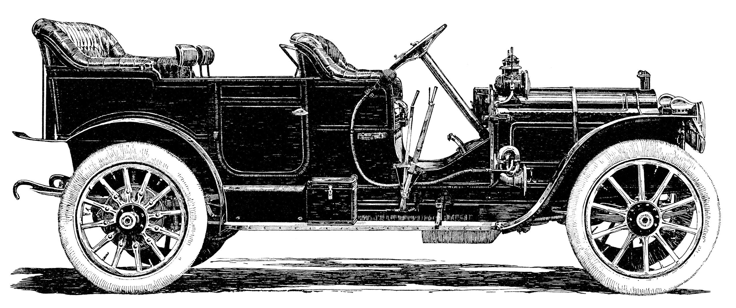 Винтажный (старый) автомобиль Packard - черно-белый рисунок из рекламы 1910 года