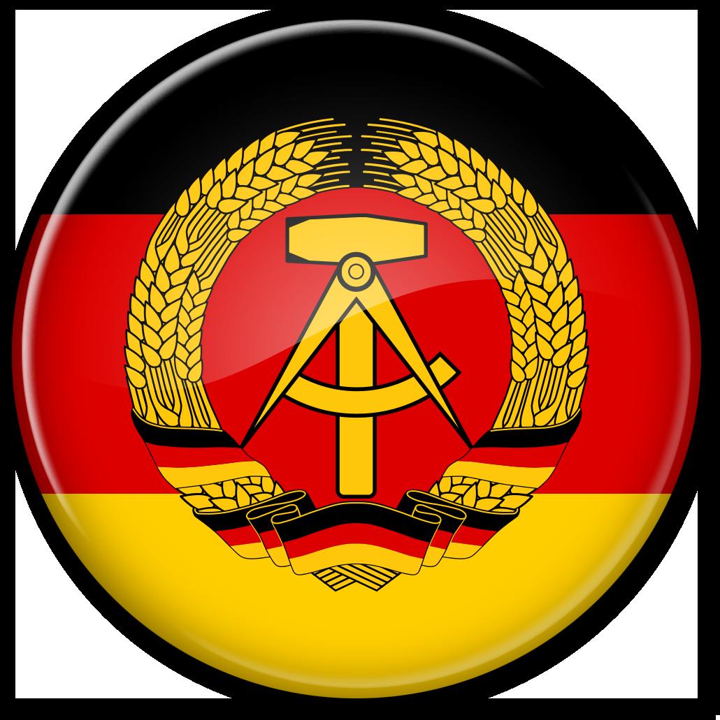 Круглый стеклянный флаг ГДР (Германской Демократической Республики)