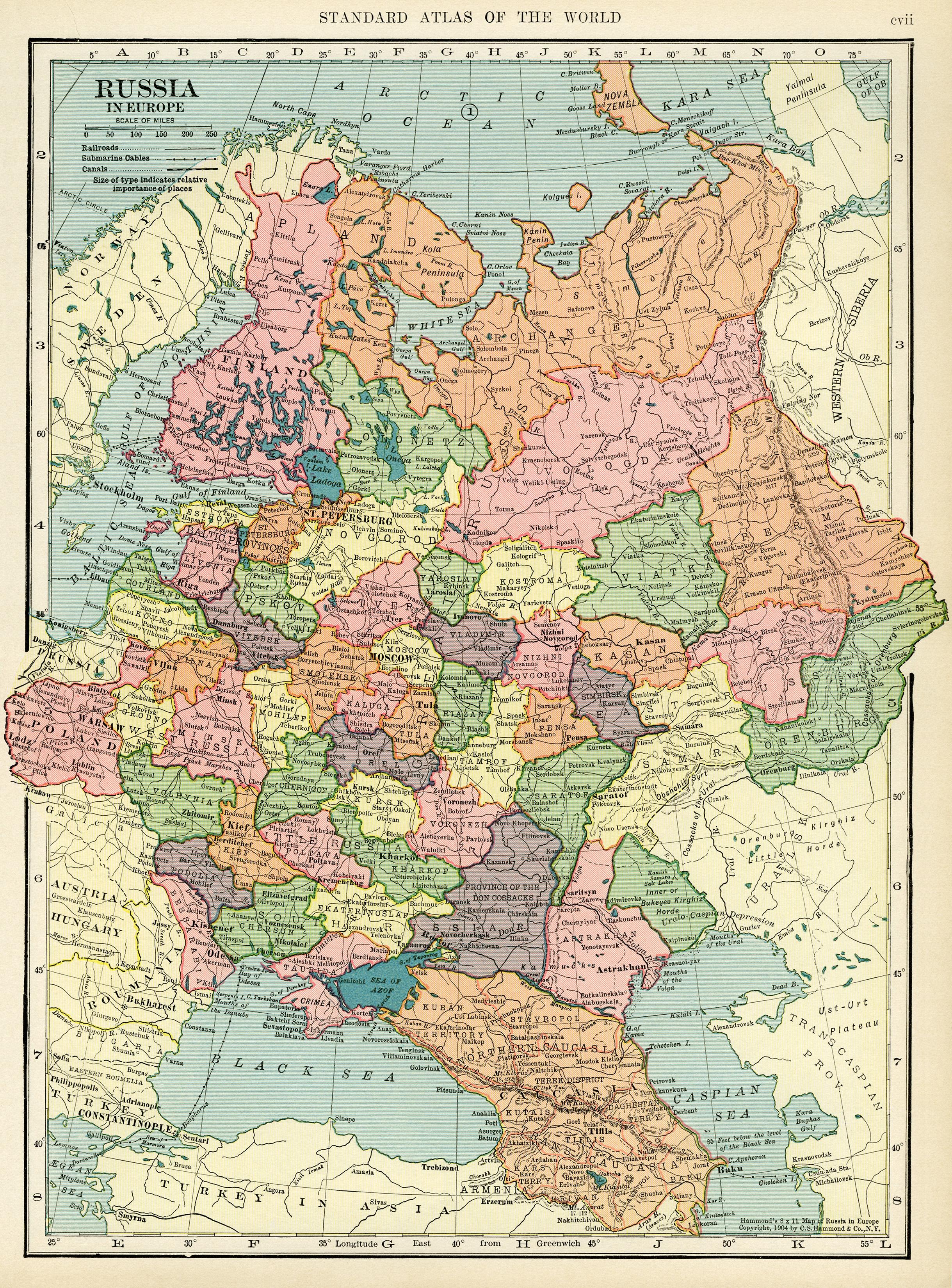 Карта европейской части Российской Империи (России) начала 20 века, 1906 года