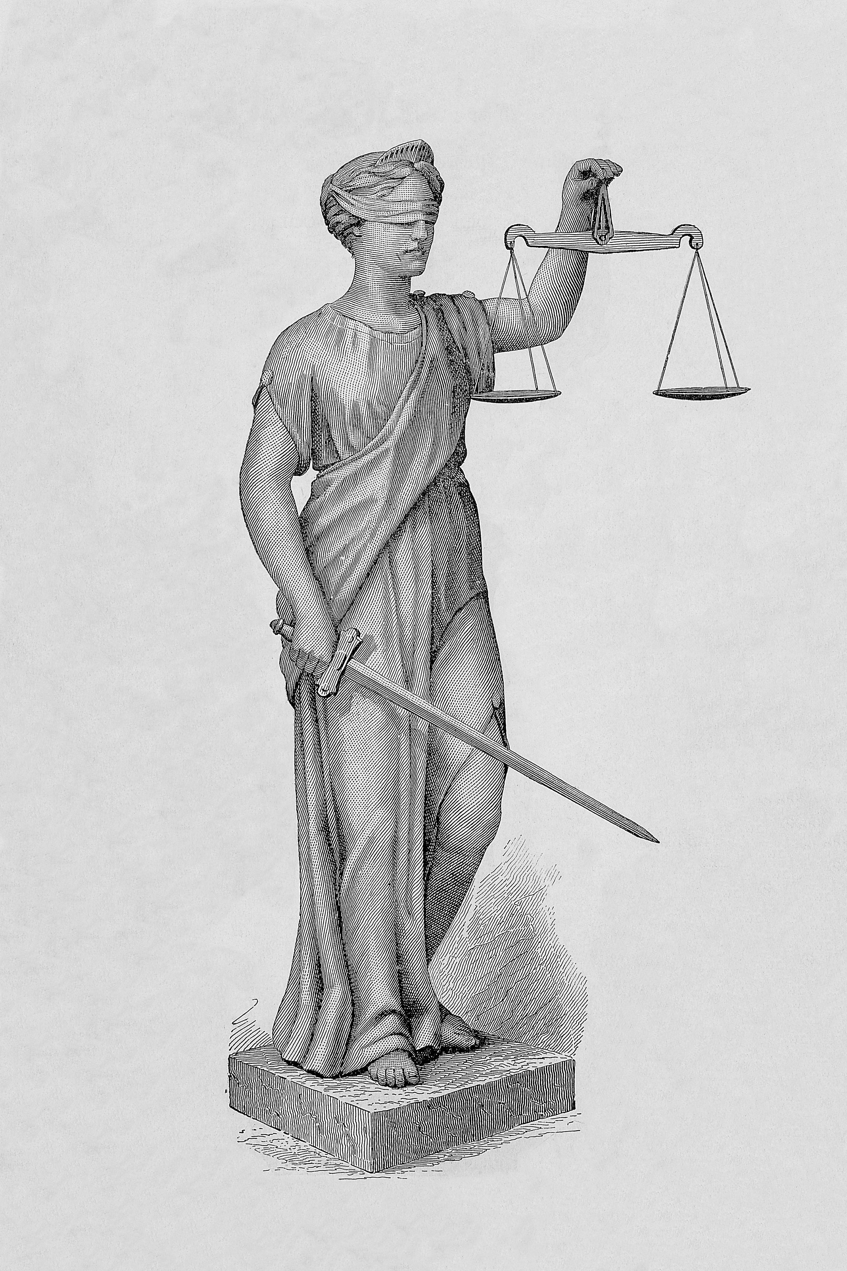 Фемида (богиня правосудия) - рисунок (гравюра) с большим разрешением