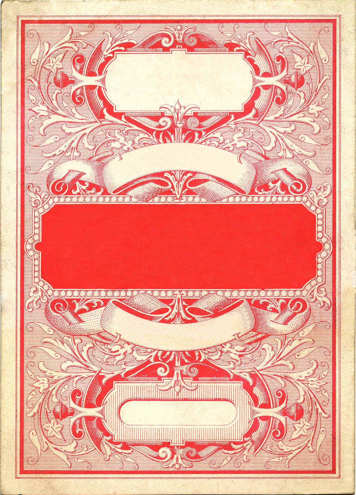 Шаблон из старой (винтажной) открытки красного цвета