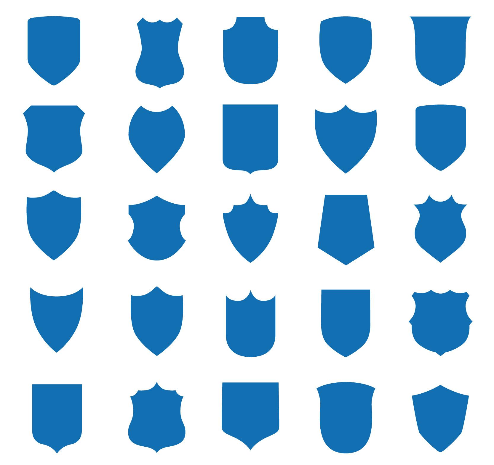 Векторные гербовые щиты разной формы