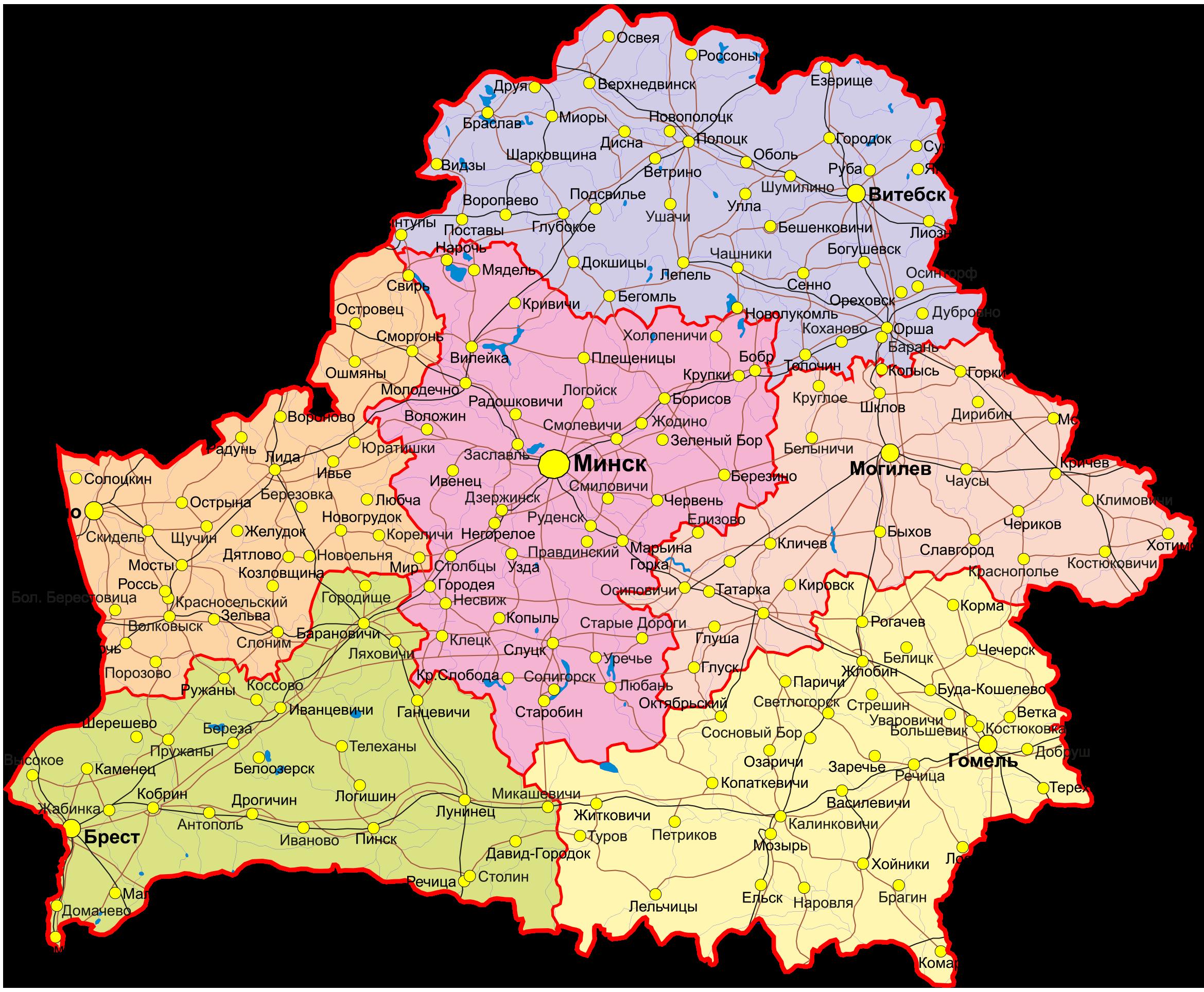 Векторная карта Белоруссии с областями и городами