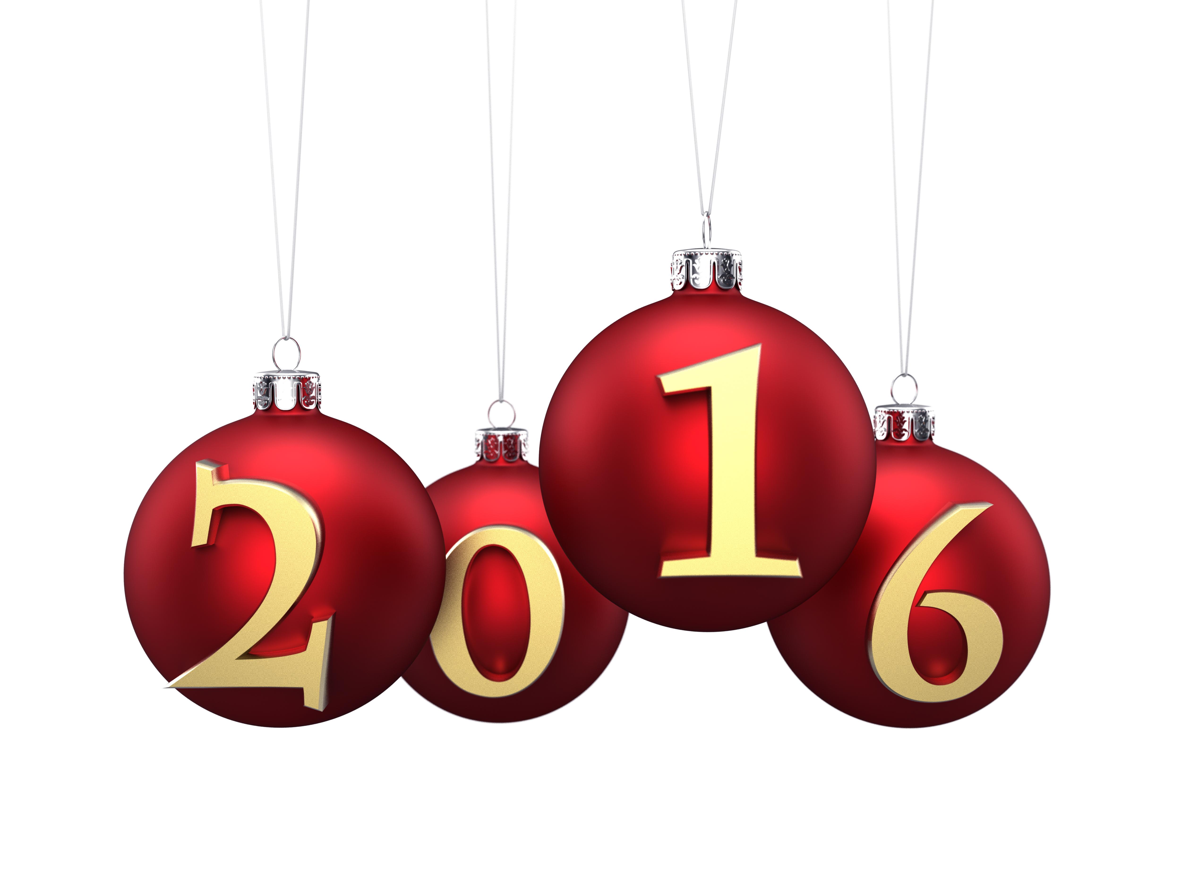 Новгодние ёлочные шары с годом 2016
