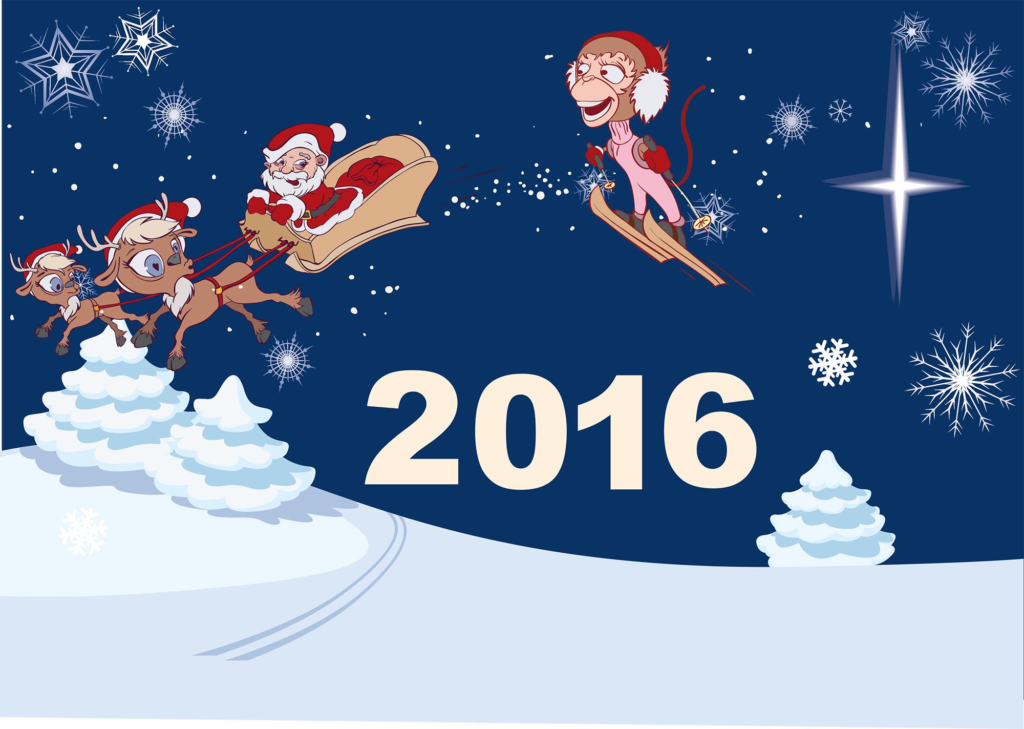 """Изображение для календаря или открытки 2016 """"Санта на санях и обезьяна"""""""