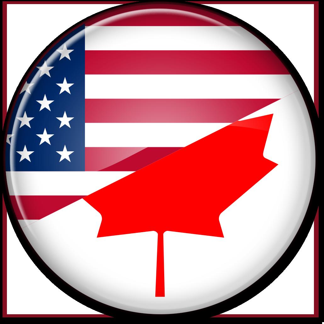 "Круглый стеклянный флаг ""США-Канада"""