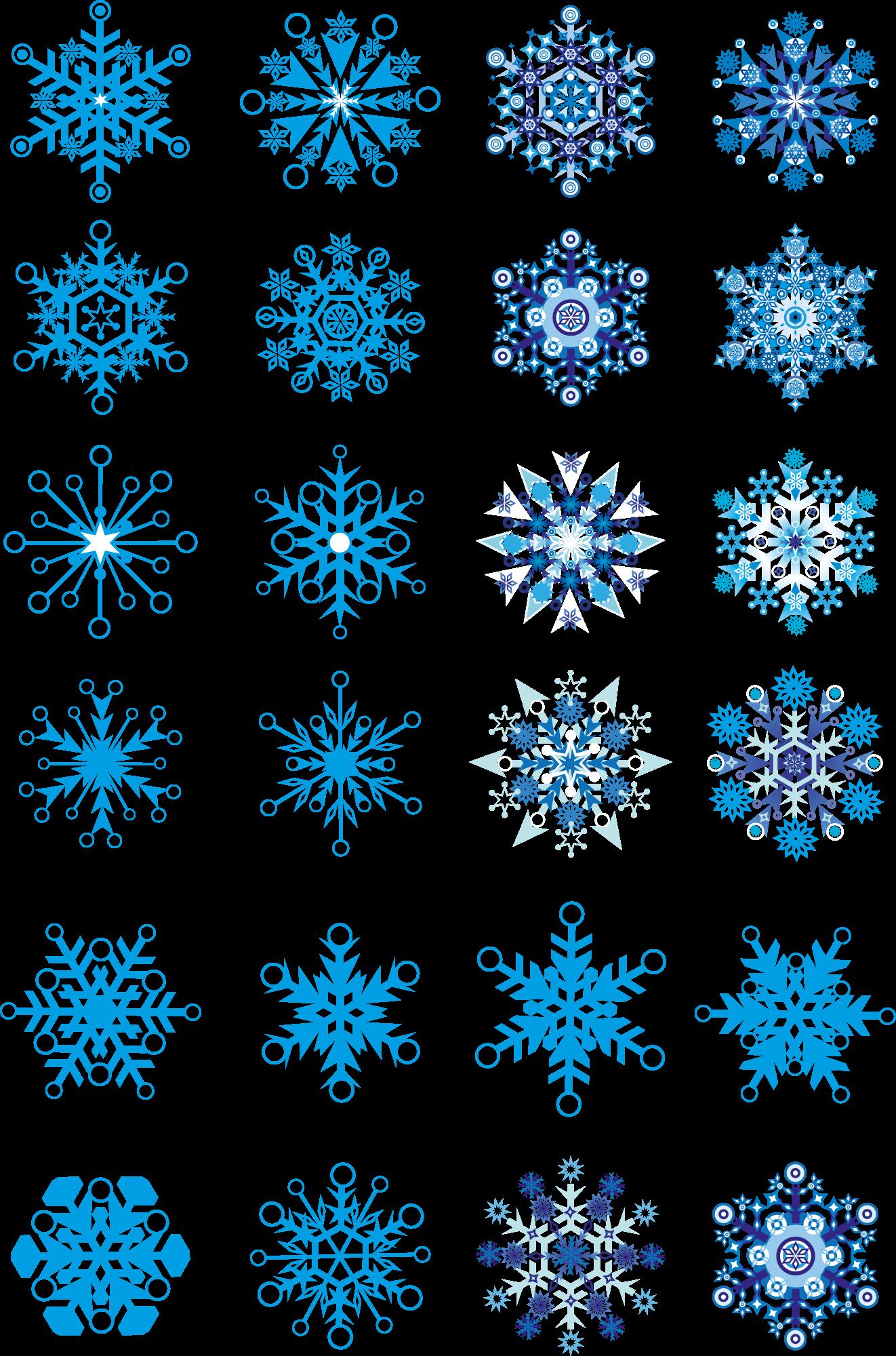 Векторное изображение снежинок разных форм
