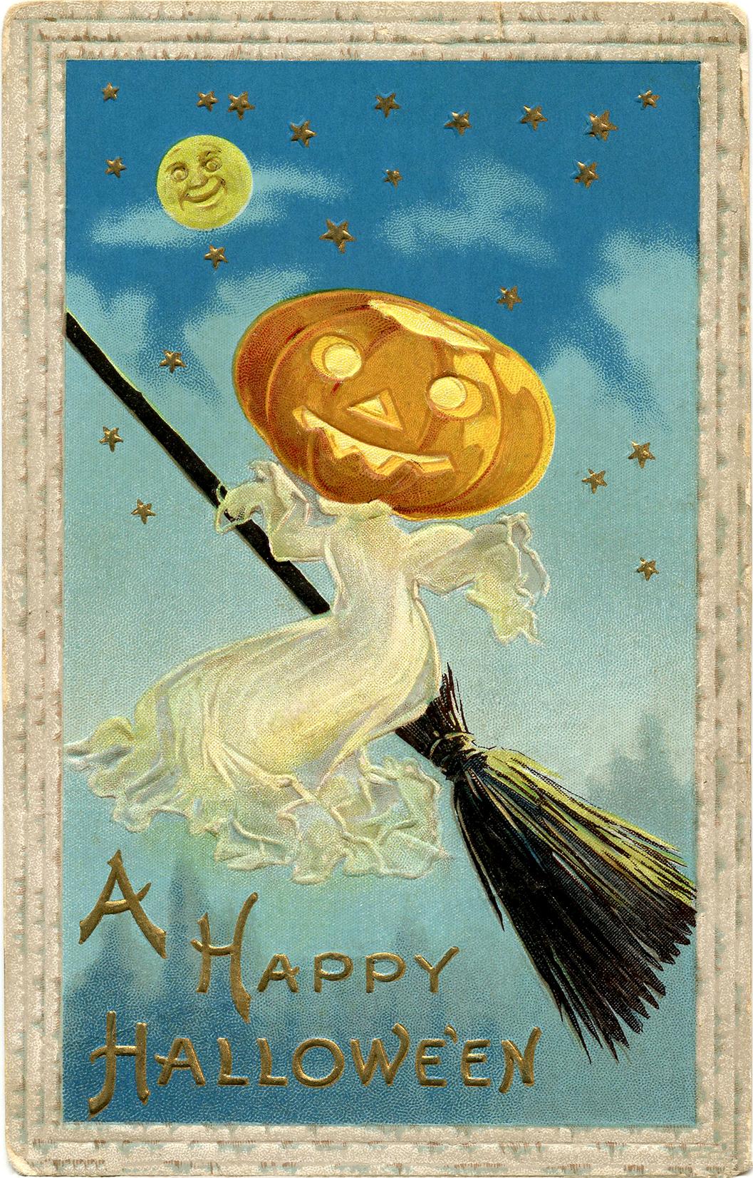 Винтажная открытка на Хеллоуин (Halloween)