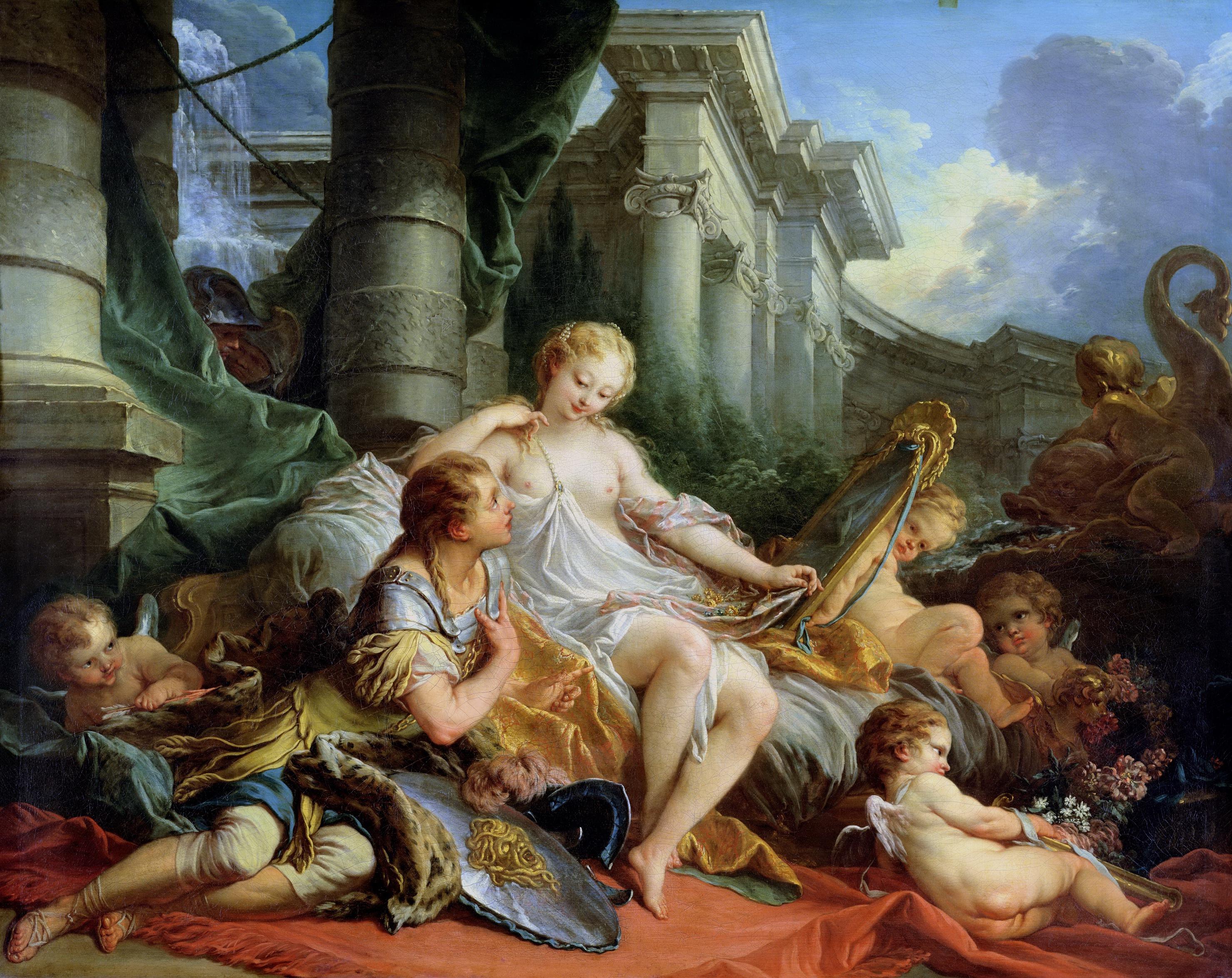 """Франсуа Буше (Francois Boucher) """"Ринальдо и Армида"""", 1734, (135,5 x 170,5; Париж, Лувр)"""